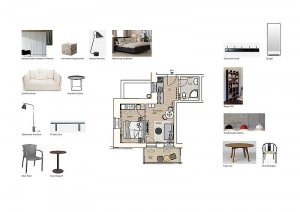 Grundriss und Möblierung der Wohnung 01 Villa Seeblick Binz