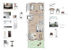 Grundriss und Möblierung der Wohnung 11 Strandhaus Seeblick Binz