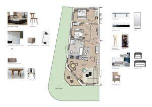 Grundriss und Möblierung der Wohnung 13 Strandhaus Seeblick Binz