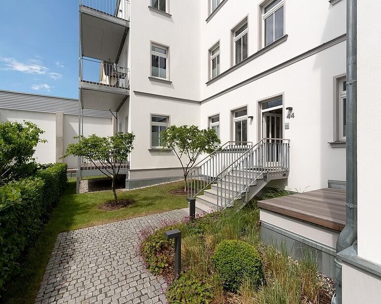 Rückwärtiger Eingangsbereich der Villa Seeblick (Hinweis: nicht barrierefrei)